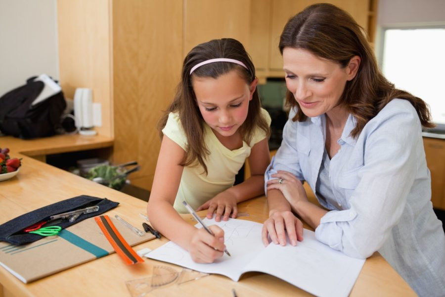 young girl and teacher